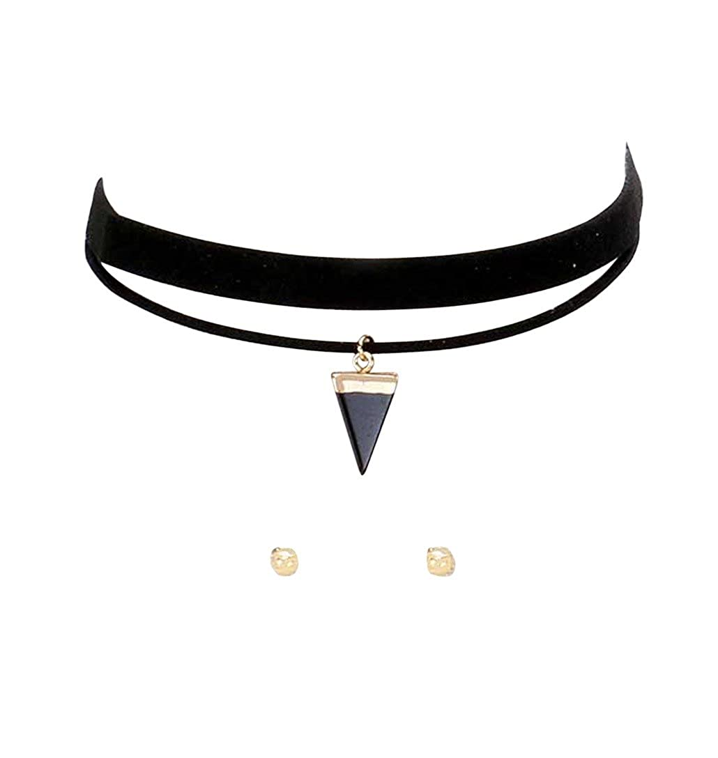 Rosemarie Collections Women's Retro Black Faux Suede Choker Necklace Earrings Set with Triangle Pendant SW-1129-54XX