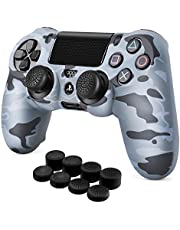 TNP PS4 / Slim / Pro Controller Skin Grip Cover Case Set - Protective Soft Silicone Gel Rubber Shell & Anti-slip Thumb Stick Caps for Sony PlayStation 4 Controller Gaming Gamepad (Camo Gray)