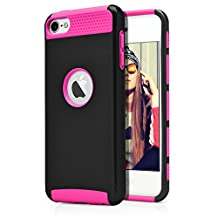 iPod Touch 6th Case, MagicMobile® Hard Shockproof Rubber Case for Apple iPod Touch 6 Gen Dual Layer Slim Armor Impact Shock Resistant Case for iPod Touch 6 / 6th Generation (Black - Hot Pink)
