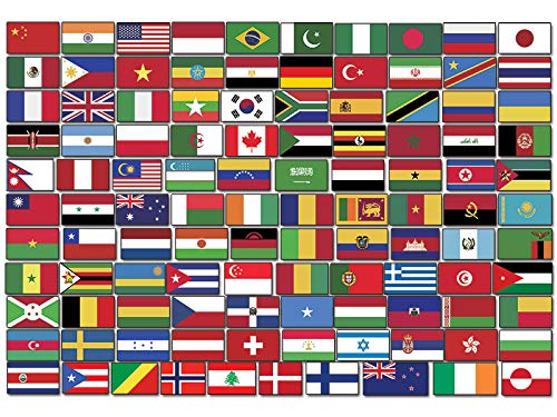 Sheet of Top 110 WORLD COUNTRY Flag Stickers (scrapbooking countries small laptop)