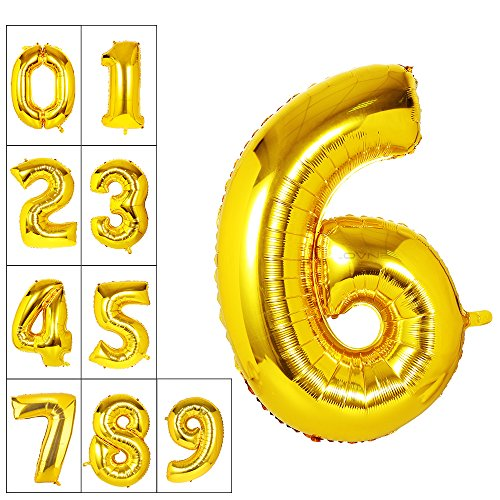 Lovne 40 Inch Gold Number 6 Balloon Birthday Party Decorations Helium Foil Mylar Number Balloon