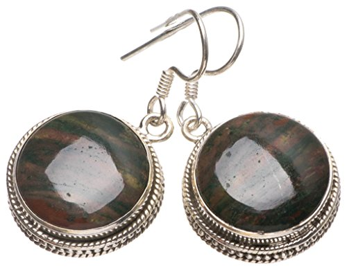 StarGems(tm) Natural Blood Stone Handmade Mexican 925 Sterling Silver Earrings 1 1/4