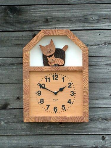 「キコリの時計」 木の振子時計 【ネコの親子の時計】 B00BHOZVOS