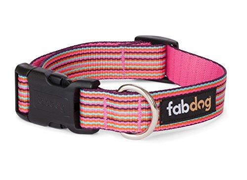 Fab Dog Pink Stripe Nylon 5/8-Inch Dog Collar, Small