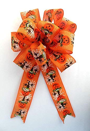 Orange Halloween pumpkin bow for wreaths, Autumn decor, fall decoration, Halloween -