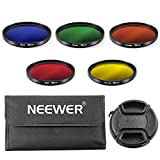 Neewer 55mm Complete Full Color Lens Filter Set for Canon DSLR Camera with 55mm Lens Thread, Includes:Blue, Green, Orange, Red and Yellow Filtes, Filter Carrying Pouch, Center Pinch Lens Cap