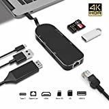 Premium 7-in-1 USB-C Hub - Type C Power Delivery+4K HDMI+Card Reader+Ethernet Gigabit Adapter+2 USB 3.0 Ports(5Gbps)-LUCKYDIY Multi-Port Adapter for MacBook(Pro)/Chromebook/Matebook and More (Black)