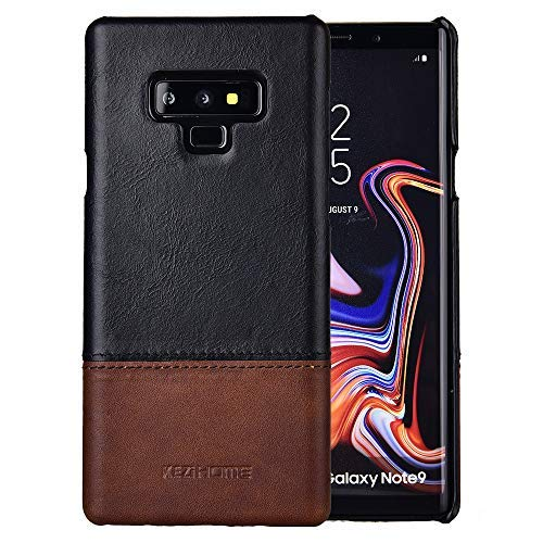 (Galaxy Note 9 Case,Two-Tone Vintage Genuine Leather Back Cover for Samsung Galaxy Note 9 (Black))