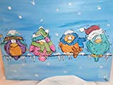Hand painted 8 x 10 lighted Christmas painting. Painted in fun winter chilly colorful birds. All lined up on their wire with plenty of snow and ice cycles.