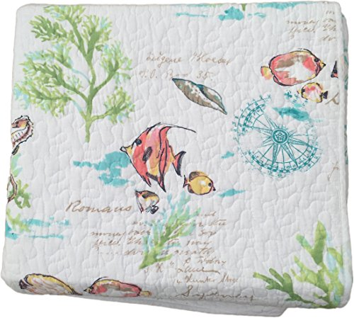 Duvet Newport Set Cover (Full / Queen Under the Sea Quilt Set Popping with Bright Exotic Island Ocean Life Color and Soft Subtle Script - 3 pc Set)