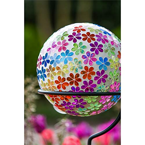 Evergreen Garden Mosaic Floral Brights 10 inch Glass Gazing Ball