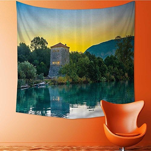 VROSELV Print Decorative Throw Fabric Tapestry Wall Hanging Venetian Tower Archaeological Site and Natial Park Sunrise Lake Sanctuary Landsc Art Decor for Bedroom/51W x 51L (Landsc Fabric)