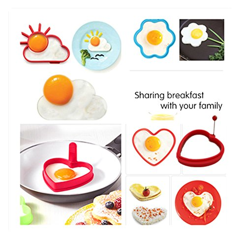Joyous Journey Pancake Mold Set, 6-Pack Food-grade Non Stick Silicone Egg Mold Ring (6 different shapes) by Joyous Journey (Image #4)