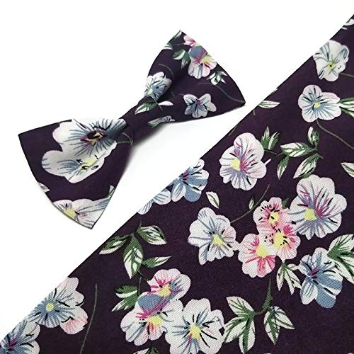 - PLUM floral white pink blossoms bow tie for men neck tie Aubergine wedding men's accessories Freestyle bowtie Skinny tie Groom Brother Father gift idea