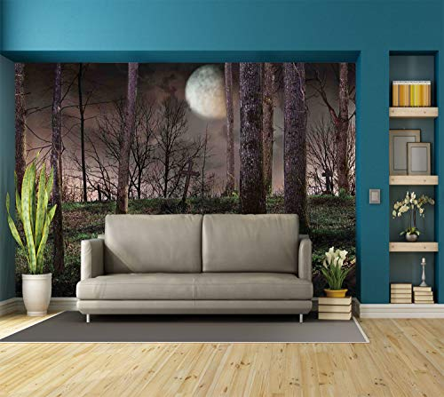 Large Wall Mural Sticker [ Gothic,Dark Night in the Forest with Full Moon Horror Theme Grunge Style Halloween,Brown Green Yellow ] Self-adhesive Vinyl Wallpaper / Removable Modern Decorating Wall Art for $<!--$238.99-->