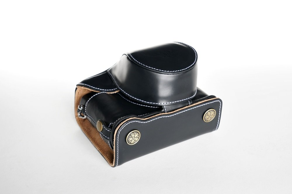 Handmade Genuine real Leather Full Camera Case bag cover for Panasonic LX100 Bottom opening Version Black color