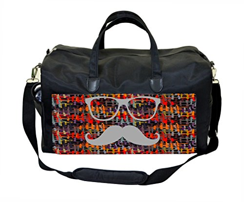 Hipster Glasses and Mustache on Crisscross Pattern Publish Design Weekender Bag