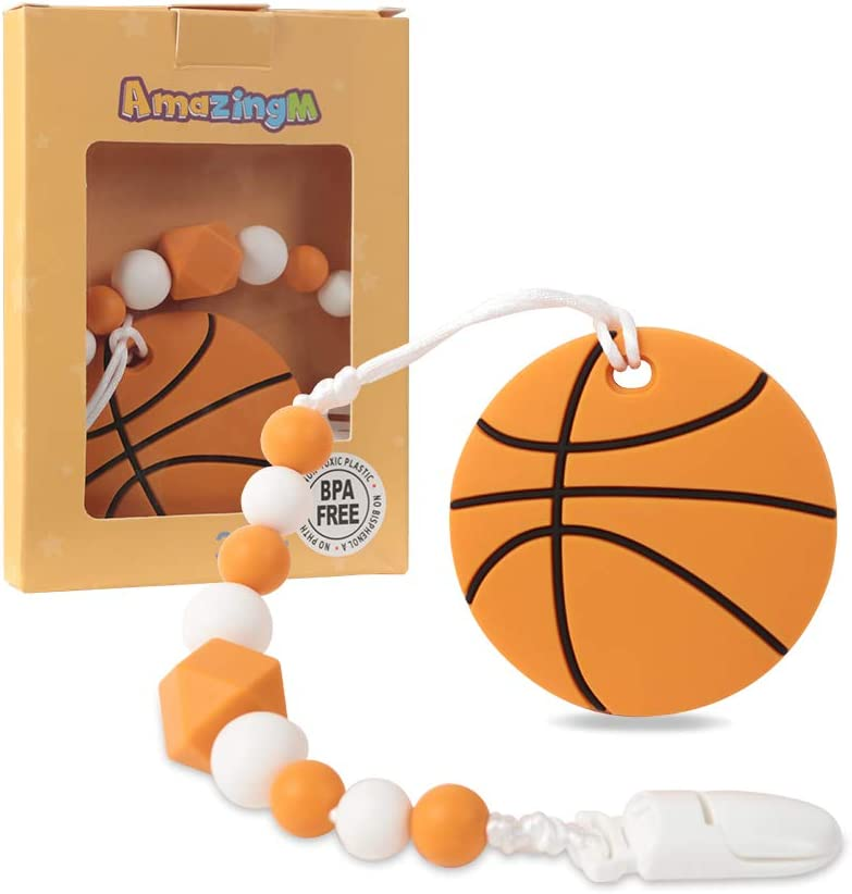 AmazingM Baby Sport Teething Toys,Food Grade Silicone Teether Toy with Pacifier Clip Holder,BPA Free,Freezer Safe,Teething Egg for Infants and Toddlers (Basketball)