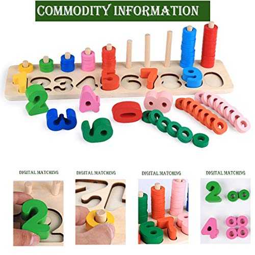 (❤️Ywoow❤️ Educational Dolls, Wood Math Blocks Shape Sorter Number and Stacking Learning Toys (Mathematics))