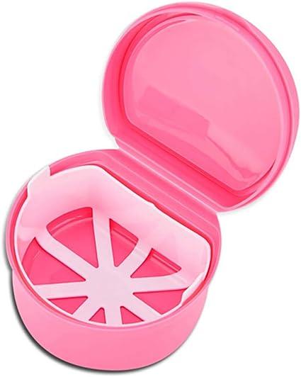 Hilai 1pc Caja de baño para dentadura postiza Caja de baño para dentadura postiza dental con contenedor de red colgante(Rosado): Amazon.es: Belleza
