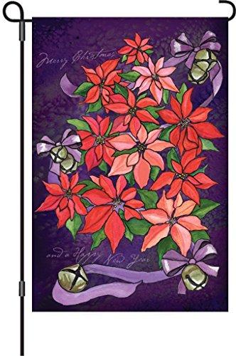 Poinsettia Topiary - Brownrio Outdoor Garden Flags, Poinsettia Topiary, 12 by 18-Inch
