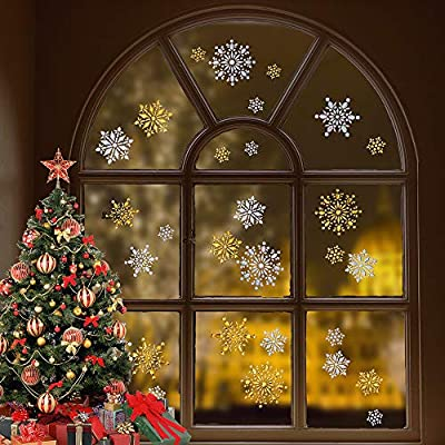 YaMeiDa 3D Snowflake Stickers Christmas Winter Large Gold and Silver Snowflake Cling Stickers Decals for Widows Wall Decor Craft Party Supplies -4 Sheets 52 pcs