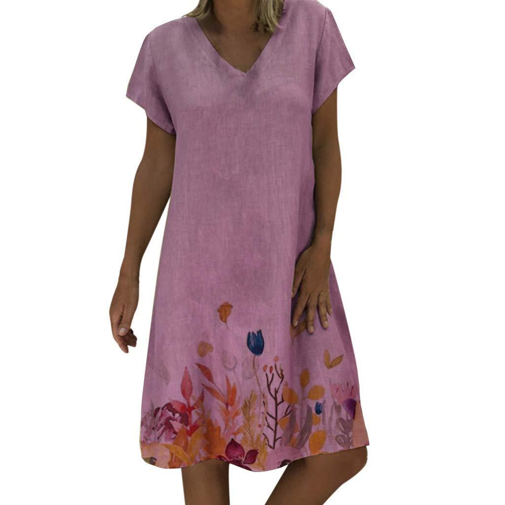 Goddessvan Women Casual Summer Floral Print Dress V-Neck Short Sleeve T-Shirt Dress Mini Dress