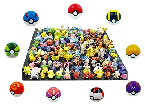 9 Pieces Plastic Super Anime Pokeball Figures Balls for Pokemon With 33 Pokemon Figures In a Set