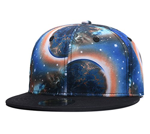 All Star Multi Eyelet - Galaxy Snapback Dad Hat, Unisex Flat Bill Starry Baseball Cap,3D Space Stars Printed Blue Orange