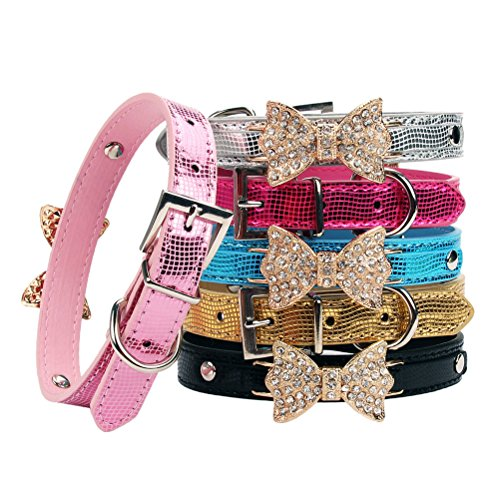 Diamante Leather - Aolove Fashion Rhinestones Diamante Butterfly Bow Tie Adjustable Pu Leather Pet Collars for Cats Puppy Small Dogs (Small, Pink)
