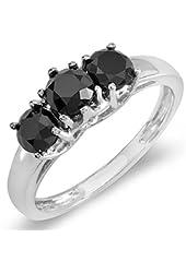 1.00 Carat (ctw) 14K White Gold Black Round Diamond Three Stone Ladies Engagement Ring 1 CT