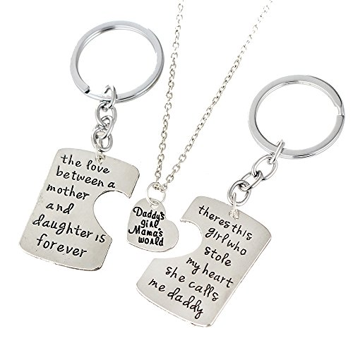 3PCs/Set Father Mother Girl I Love U Charm Pendant Keyring Keychain Jewelry Gifts for Daughter Daddy Mom (2PCs Keyring & 1PC Necklace) ()