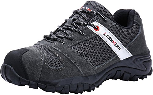 LARNMERN Work Shoes for Men, LM-18 Men's Steel Toe Safety Shoes Breathable Comfortable Footwear Industrial and Construction Boots Grey ()