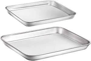 WEZVIX Baking Sheet Tray Cookie Sheet Stainless Steel Toaster Oven Pan Baking Pan 9 & 10 inches, Non Toxic & Healthy, Rust Free & Less Stick, Thick & Sturdy, Easy Clean & Dishwasher Safe