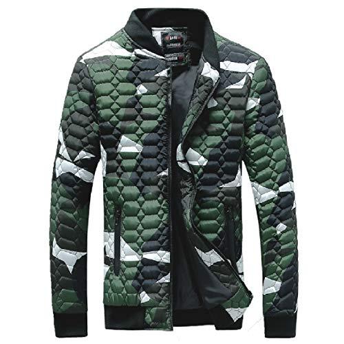 RkBaoye Men Plus-Size Jackets Zipper Trim-Fit Camo Stand Collar Down Parka Army Green