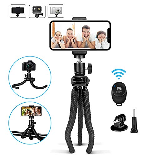 Bluehorn Phone Tripod Flexible Cell Phone Tripod Adjustable Camera Stand Holder with Wireless Remote Selfie Stick and Universal Clip 360° Rotating Mini Tripod Stand for iPhone Android Phone Sports