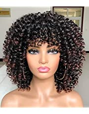 ANNIVIA Curly Afro Wig with Bangs Short Curly Wigs for Black Women Synthetic Fiber Soft Hair Short Curly Afro Wig (1B/33)