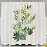 """Cactus Theme Decoration Shower Curtain For Bedroom, Mildew Resistant Waterproof Digital Printing Polyester Shower Curtains With Adjustable Hook,72""""x78"""""""