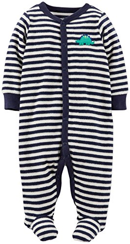 Carter's Striped Terry Footie (Baby) - Navy-3 Months
