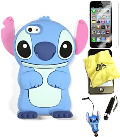 Bukit CellCase Bundle - 5 items: BLUE 3D Cute Animal Cartoon Stitch Silicone Case for IPHONE SE 5S+ BUKIT CELL Cloth +Stitch Figure Plug Stylus Pen + Screen Protector + METALLIC Stylus Touch (Stitch Cell Phone Case)