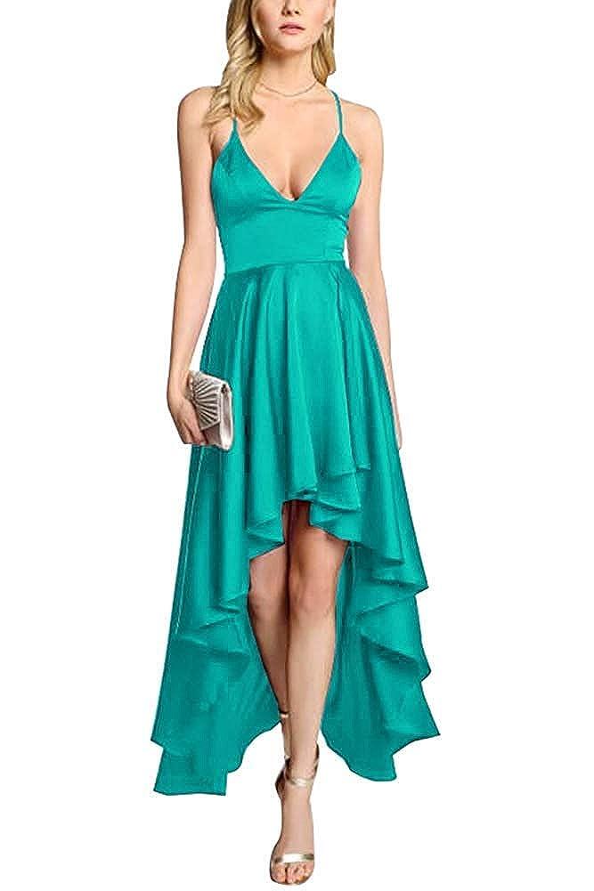 Turquoise ZLQQ Women's Spaghetti Strap Prom Dresses HiLo VNeck Bridesmaid Dress Short Formal Evening Gown