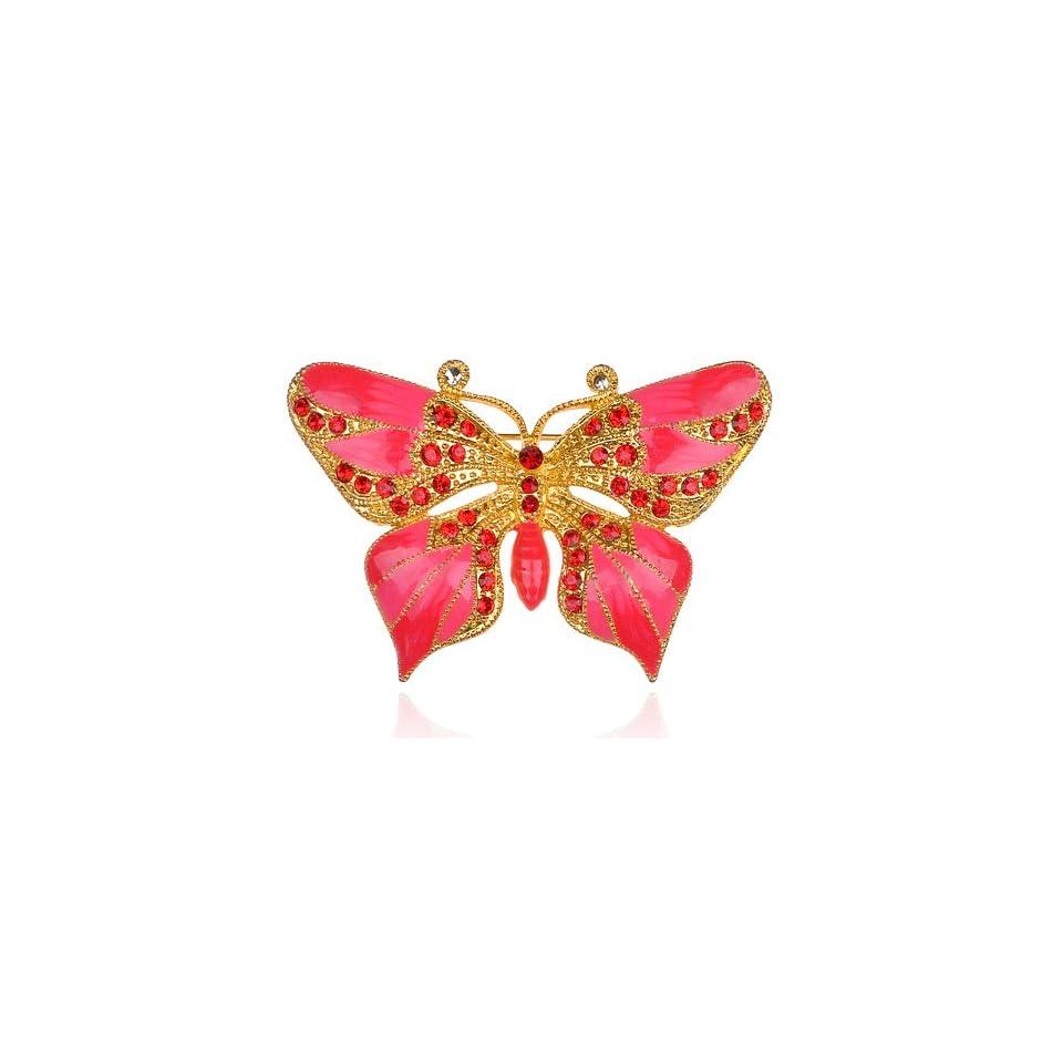 Enchanting Hyacinth Pink Cute Gold Tone Crystal Rhinestone Butterfly Brooch Pin