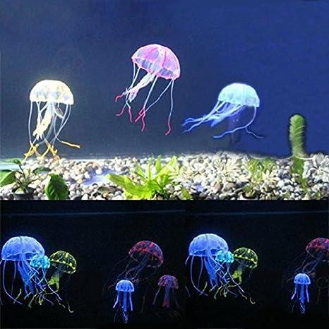 (color al azar) 8,5 cm Artificial Silicona vivos medusas para peces acuario
