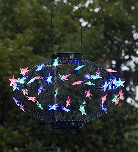 Small Solar Star Lantern With Green Frame/Multicolored Lights