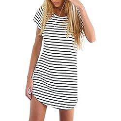 OURS Women's Basic Stripes Short Sleeve Shift Mini Dress Top