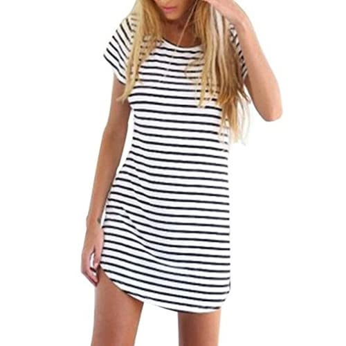 2270b9ed6d818 new OURS Women s Crew Neck Short Sleeve Striped Loose T-Shirt Mini Dress