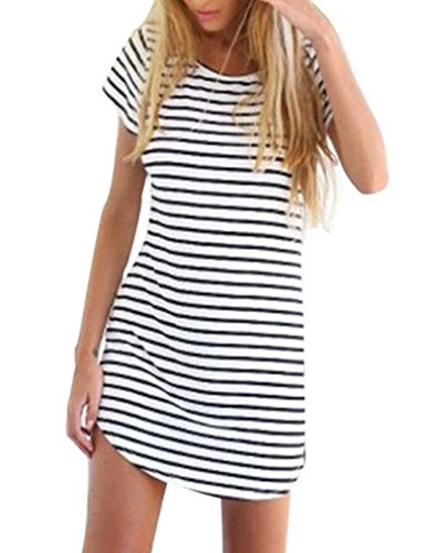 OURS Women O-Neck Short Sleeve Casual Loose Mini Striped Dress (L, White (Higher Quality))
