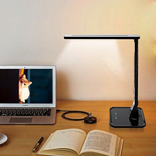 LED Table Desk Lamp Fugetek FT-768, 5-Levels of Brightness, Touch Control Panel, 550 Lumen, 1-Hour Auto Timer (Black) by Fugetek (Image #5)