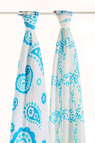 Baby Bamboo Swaddle Blankets,70% Bamboo 30% Cotton Swaddling Wrap 2 Pack Gift Set(Blue Wave) ()