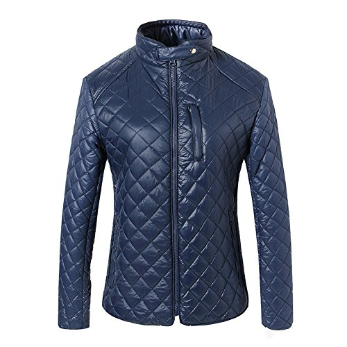 Winter Large Checkered Padded Lightweight Coat SUNDAYROSE Women's Blue Quilted Jacket Warm qnUx6IRzw
